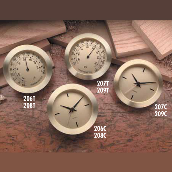 Metal Insert Clocks and Thermometers